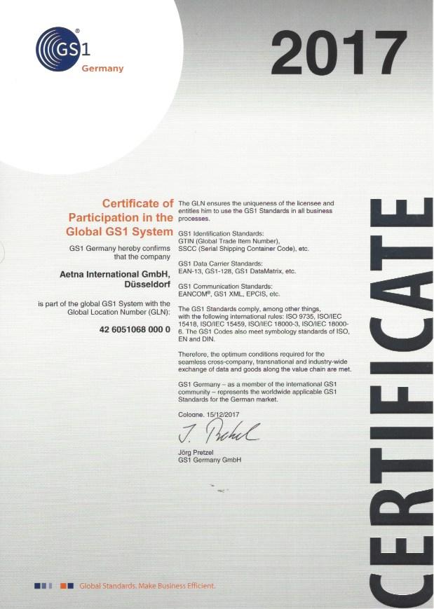 Certification Aetna International Gmbh